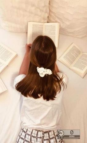 Bücherwurm im Bett